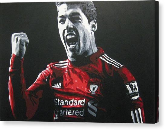 Liverpool Fc Canvas Print - Luis Suarez - Liverpool Fc by Geo Thomson