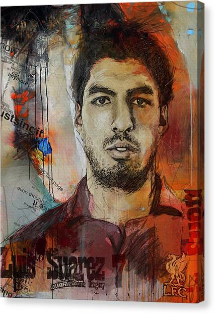 Real Madrid Canvas Print - Luis Suarez by Corporate Art Task Force