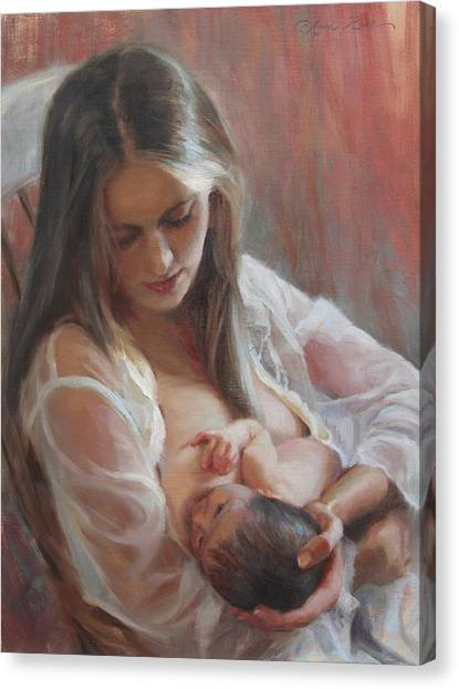 Nursing Canvas Print - Lullaby by Anna Rose Bain