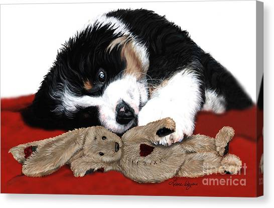 Bernese Mountain Dogs Canvas Print - Lullaby Berner And Bunny by Liane Weyers