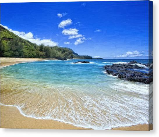 Mauna Loa Canvas Print - Lumahai Beach Kauai by Dominic Piperata