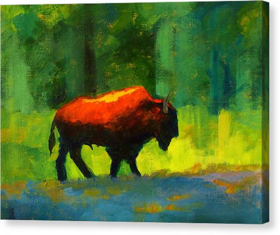 Bison Canvas Print - Lumbering by Nancy Merkle