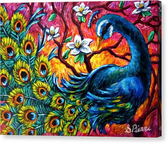 Luminous Peacock Canvas Print