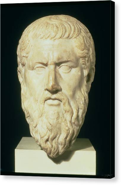Philosopher Canvas Print - Luna Marble Head Of Plato, Roman, 1st by .