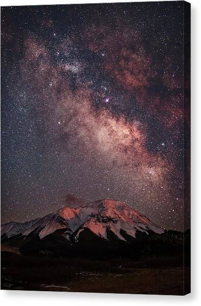 Lunar Alpenglow And Milky Way Skies At Canvas Print