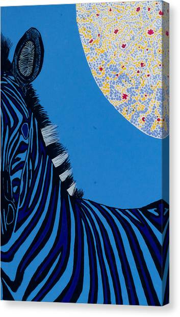 Lunar Blue Zebra Canvas Print by Patrick OLeary