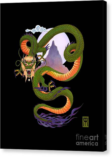 Dragon Canvas Print - Lunar Chinese Dragon On Black by Melissa A Benson