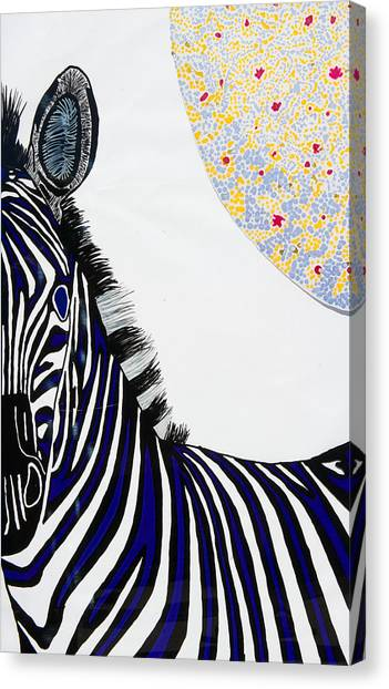 Lunar White Zebra Canvas Print by Patrick OLeary