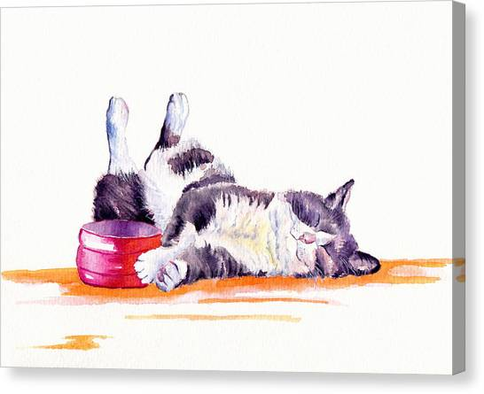 Cat Canvas Print - Lunch Break by Debra Hall