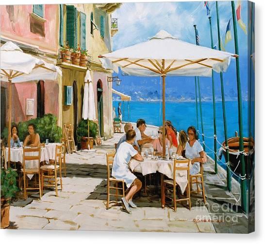 Portofino Cafe Canvas Print - Lunch In Portofino by Michael Swanson