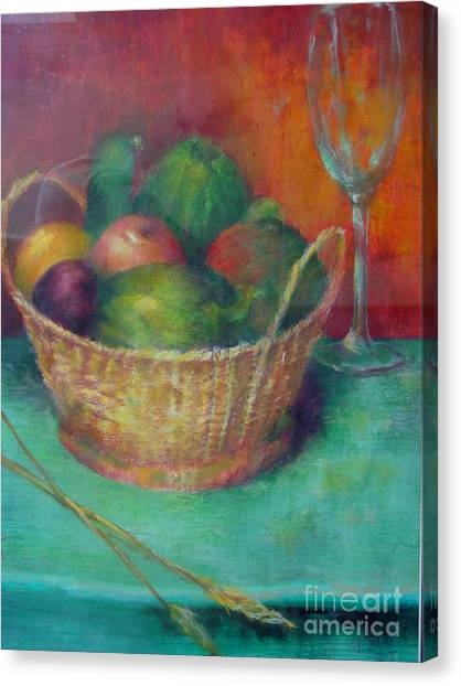 Lunch In Tuscany  Copyrighted Canvas Print by Kathleen Hoekstra