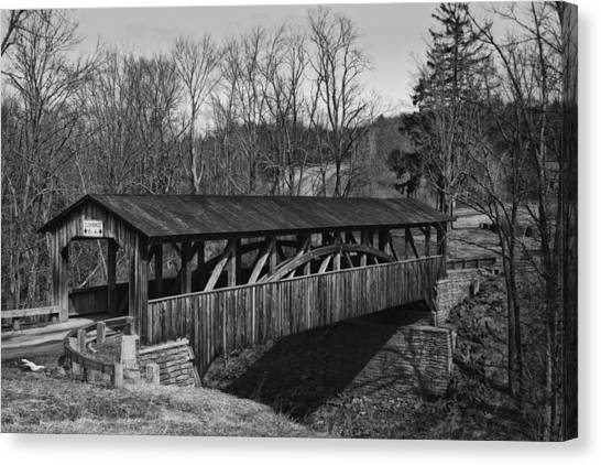 Luther's Mill Covered Bridge Black And White Canvas Print
