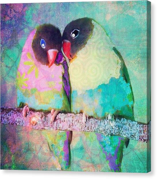 Watercolor Canvas Print - Luvbirds...a #digitalcollage #birdart by Robin Mead