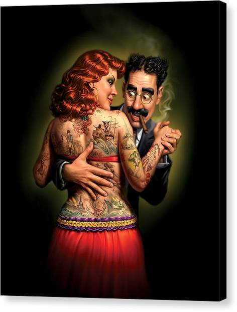 Tattoo Canvas Print - Lydia The Tattooed Lady by Mark Fredrickson