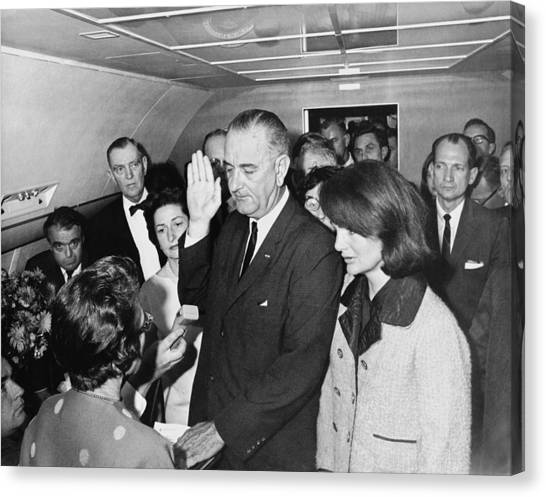 U. S. Presidents Canvas Print - Lyndon Johnson Sworn In by Cecil W. Stoughton