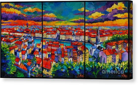Lyon Panorama Triptych Canvas Print