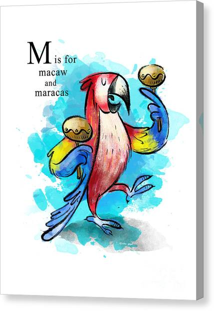 Macaws Canvas Print - M Is For Macaw by Sean Hagan