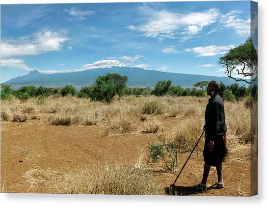 Mount Kilimanjaro Canvas Print - Maasai Man by Babak Tafreshi