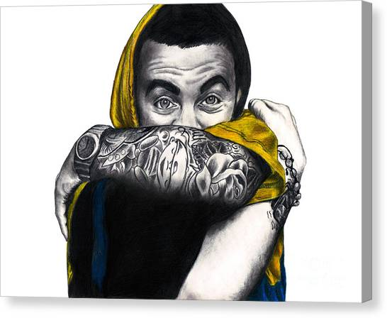 Hoodie Canvas Print - Mac Miller by Michael Durocher