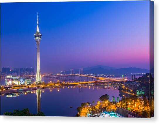 Macau Tower In China Canvas Print by Nattee Chalermtiragool