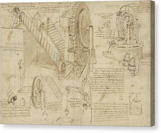 Genius Canvas Print - Machines To Lift Water Draw Water From Well And Bring It Into Houses From Atlantic Codex  by Leonardo Da Vinci