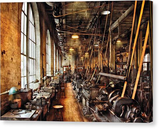 Tools Canvas Print - Machinist - Machine Shop Circa 1900's by Mike Savad