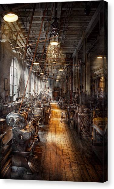 Grandpa Canvas Print - Machinist - Welcome To The Workshop by Mike Savad