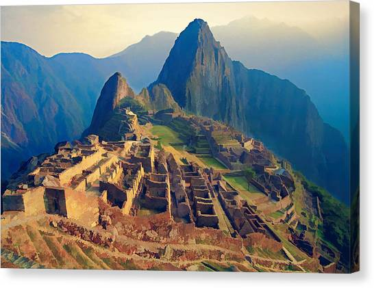 Peruvian Canvas Print - Machu Picchu Late Afternoon Sunset by Elaine Plesser