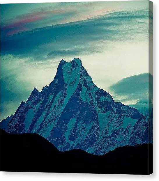 Sunset Horizon Canvas Print - Machupuchare 6998m by Raimond Klavins