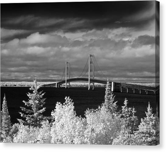 Macinac Bridge - Infrared Canvas Print