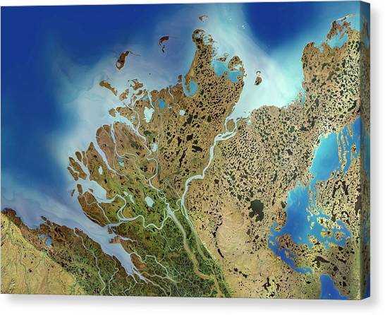 Northwest Territories Canvas Print - Mackenzie River Delta by Planetobserver/science Photo Library