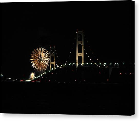 Mackinac Bridge 50th Anniversary Fireworks Canvas Print