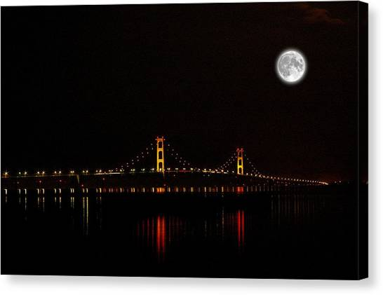 Mackinac Bridge And Moon Canvas Print