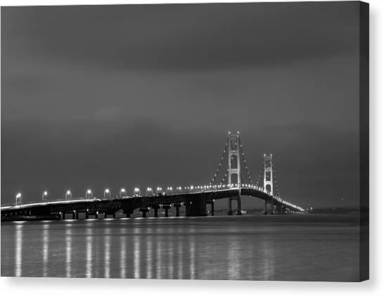 Mackinac Bridge Black And White Canvas Print