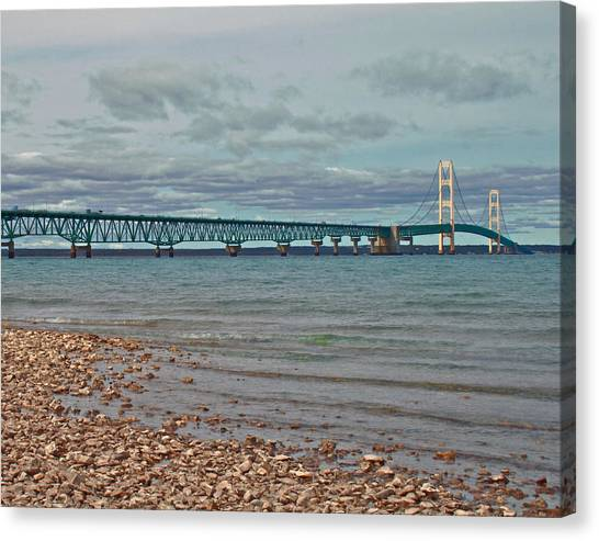 Mackinac Bridge Canvas Print by Brady D Hebert