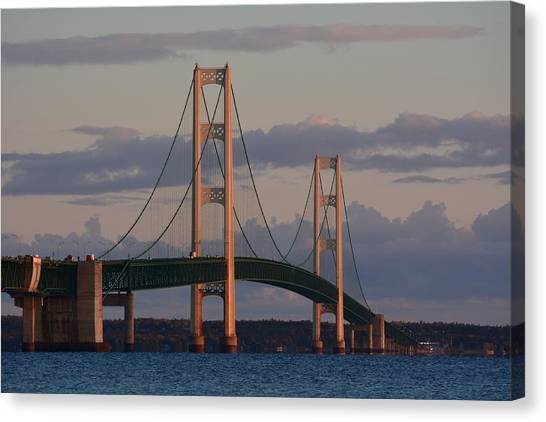 Mackinac Bridge In The Morning Sun Canvas Print by Keith Stokes