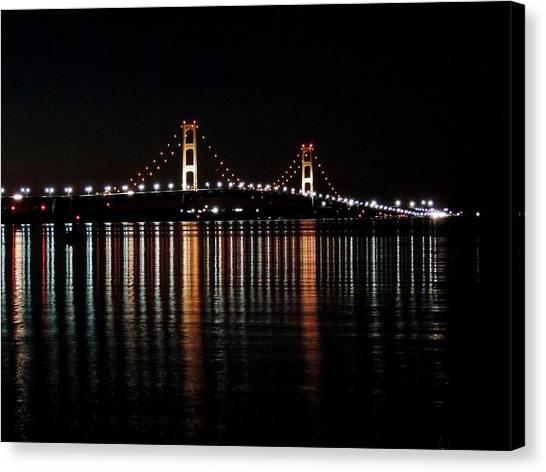 Mackinac Bridge Lights Canvas Print