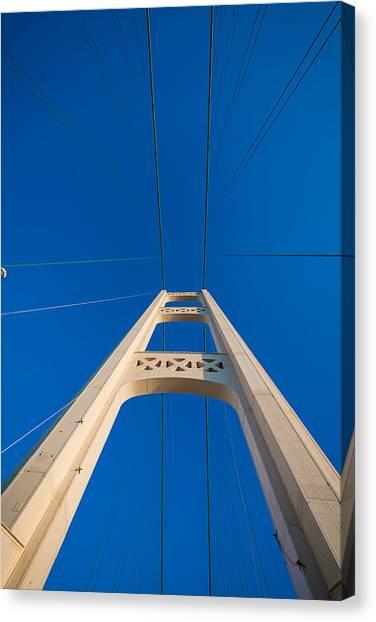 Mac Canvas Print - Mackinac Bridge South Tower by Steve Gadomski