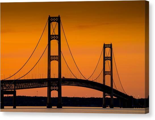 Mac Canvas Print - Mackinac Bridge Sunset by Steve Gadomski