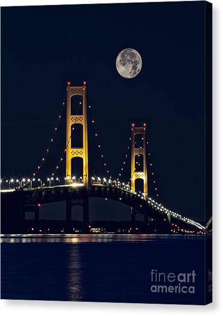 Mackinac Bridge With Moonrise Canvas Print by Todd Bielby
