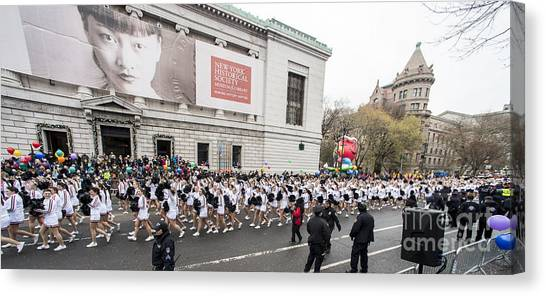 Macys Parade Canvas Print - Macy's Thanksgiving Day Parade Marchers by David Oppenheimer