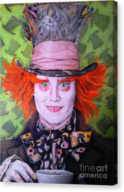 Prisma Colored Pencil Canvas Print - Mad Hatter by Jessica Zint