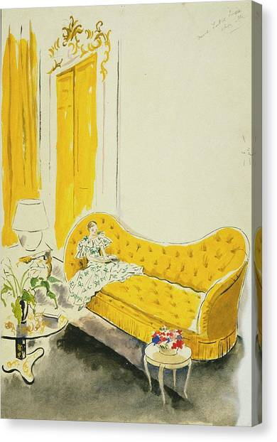 Madame Luce On A Yellow Sofa Canvas Print