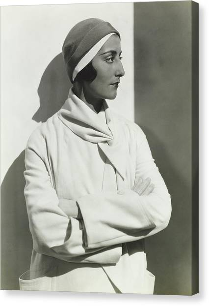Flannel Canvas Print - Madame Simone Demaria In A Maggy Rouff Coat by George Hoyningen-Huene