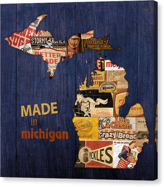 Michigan Canvas Print - Made In Michigan Products Vintage Map On Wood by Design Turnpike