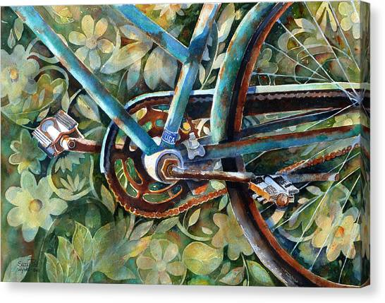 Cycling Canvas Print - Made In The Usa by Suzy Pal Powell