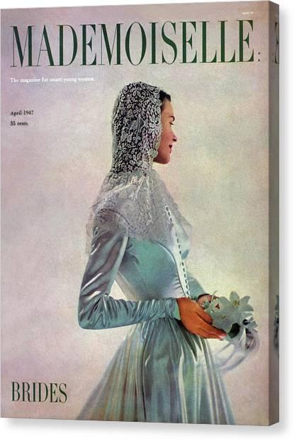 Wedding Gown Canvas Print - Mademoiselle Cover Featuring A Bride by Gene Fenn
