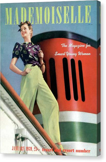 Mademoiselle Cover Featuring A Model Aboard Canvas Print by Paul D'Ome