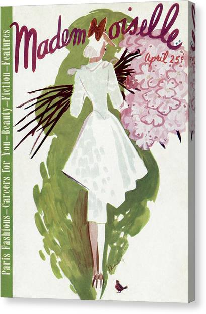 Mademoiselle Cover Featuring A Woman Carrying Canvas Print