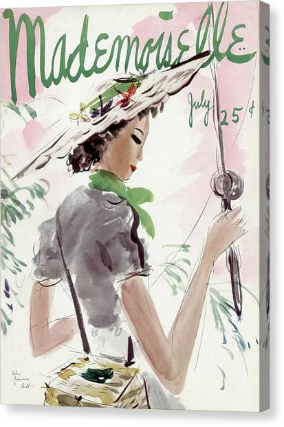Sports Clothing Canvas Print - Mademoiselle Cover Featuring A Woman Holding by Helen Jameson Hall